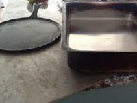 Aga- cold shelf: griddle pan; large Aga pan