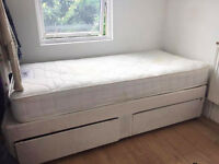 Single divan bed with mattress and storage