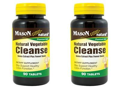 (PACK2 X 90 = 180 TABLETS NATURAL VEGETABLE CLEANSE SENNA EXTRACT FENNEL cleanser)