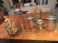Glass jars and vases