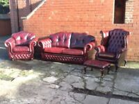 OXBLOOD RED LEATHER CHESTERFIELD 4 PIECE SUITE LOVELY HAND MADE CHESTERFIELD TIMELESS FURNITURE
