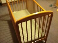 Pine baby cot with mattress