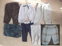 Bundle of 7 baby boy clothes 3-6mths: 3x trousers, 2x leggings, 2x tracksuit bottoms.