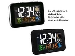 C85183 La Crosse Technology Multi-Color Atomic Alarm Clock Refurbished LOT OF 2