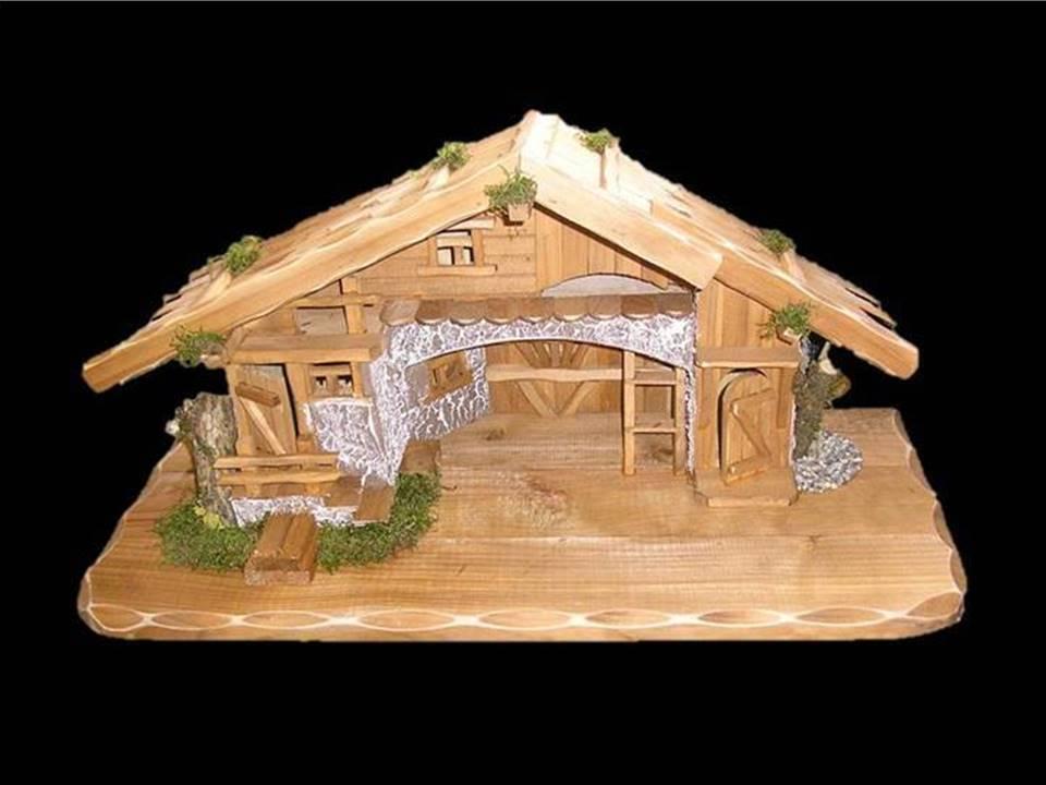 Weihnachtskrippe Holz XL Krippenstall Holzkrippe Krippe Stall Weihnachten