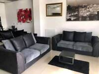 Ex Display Black Leather and Grey Chord 3+2 Sofa
