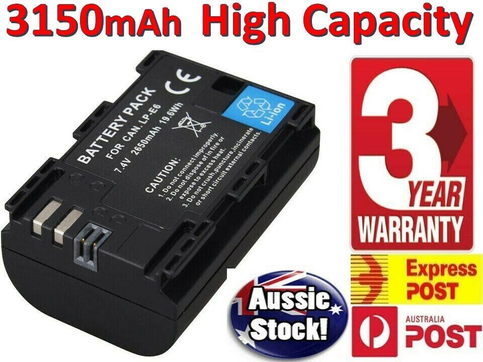 2x Canon LP-E6 LPE6 batería para cámara EOS 5D Mark II III EOS 7D 60D 6D 70D 5D2