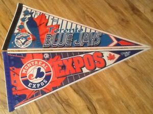 Unused Montreal Expos and Toronto Blue Jays pennants