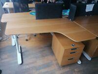 19 Ikea Bekant corner office/business/executive desk/table, height adjustable wood top