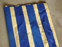 A pair of blue and yellow curtains W58ins x 103ins drop very good con.