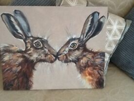 Hare the kiss print stretch canvas