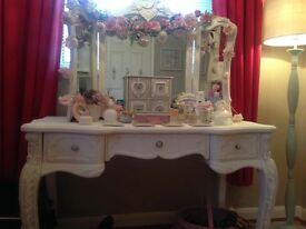 French shabby chic ornate dressing table painted in white chalk paint