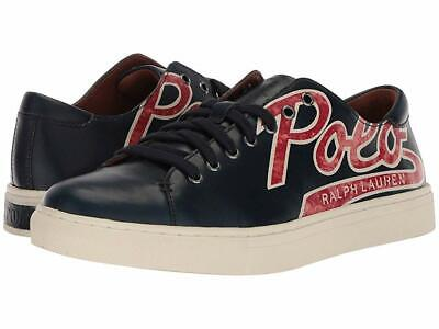 Polo Ralph Lauren Shoes - Jermain Calfskin Leather Men's Sneakers Navy Logo Calfskin Leather Mens Sneakers