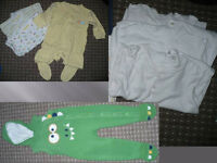 Bundle of 28 boy clothes 9-12mths/ 9-12 mths. VGC! Sleepsuits, bodysuits, jackets, tops, trousers..