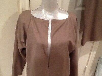 ZORAN 2-piece Art-to-Wear Taupe Elegant Minimalism Wool Jacket with dress Italy  Elegant 2 Piece Jacket Dress