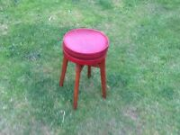 Red Leatherette Stool
