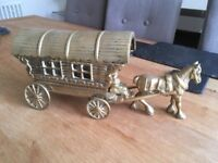 Brass Horse and Gypsy Carriage