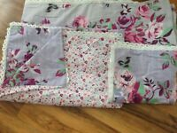 NEXT Curtains and Matching lace edged single duvet quilt cover set & pillowcase