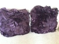 2 large purple satin cushions As new