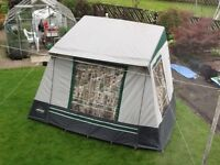 Motor home Awning in as new condition 3.5mX2m front 1.8m rear 2.1m 2 side doors 6 curtains green
