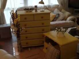3 piece set solid wood large chest of drawers, TV unit and large bookcase £30 each