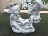 CONCRETE BOY & GIRL ON SEE-SAW GARDEN ORNAMENT HARLEY MOTORBIKE BIRD BATHS PUPS HORSE & CART MONKEYS