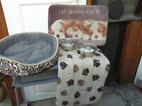 Small fleecy dog bed, 2 dog mat beds and 2 food bowls
