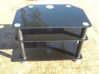Tv unit stand table black glass with Crome holes for wires