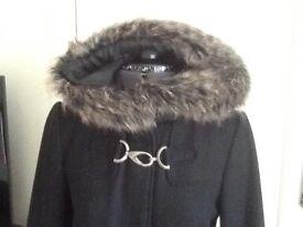 Size 10 black 3/4 length hooded coat