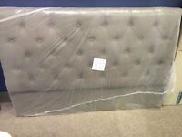 Double headboard Neptune Charles, grey fabric buttoned