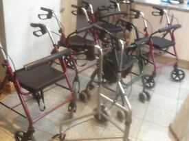 Mobility aide walkers with brakes and padded seats-all ex showroom models-all are foldable-£30 each