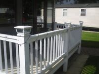 "WHITE GLASS SOLAR DECKING POST LIGHTS , IDEAL FOR STATIC CARAVANS AS WILL FIT A 4"" OR 5"" POST"