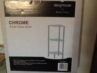Free standing glass shelf unit brand new still in box