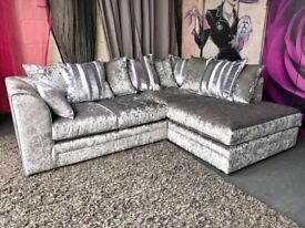 BRAND NEW CRUSH VELVET CORNER OR 3+2 SEATER SOFA AVAILABLE IN STOCK