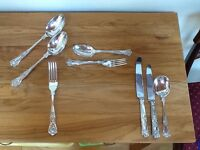Kings pattern cutlery, 6 place settings, part EPNS, part stainless steel