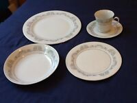 Crown Ming China 12-pieces of each. Plates; side plates; dessert bowls; cups; saucers.