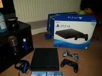 playstation 4 Slimline 500GB 6 games all wires and box still like new