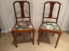 Pair of Vintage 1920's Walnut Chairs