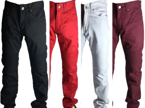 Btl Men Biker Jean Twill Pants Slim Straight Fit 4 Colors Size 32-44