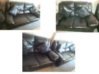 BLACK LEATHER 3 SEATER SOFA AND 2 SEATER WITH MATCHING POUFEE AND MATCHING CUSHIONS VERY COMFY