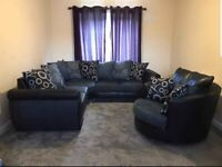BRAND NEW SHANNON BLACK AND GREY CORNER SOFA AVAILABLE IN THREE AND TWO'S AS WELL ORDER NOW
