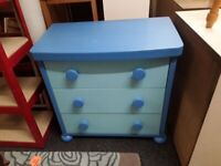 Chunky blue IKEA chest drawers Copley Mill Low Cost Moves 2nd Hand Furniture STALYBRIDGE SK15 3DN