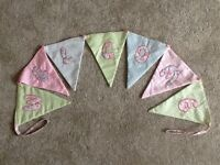 Welcome bunting material used with loops to hang up