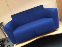 Blue Fabric Office Reception Sofa