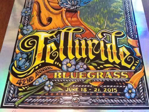 AJ Masthay Telluride Bluegrass Poster 2015 rare rainbow foil of 20 Panic Sperry