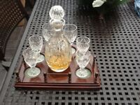 Lead Crystal Decanter and Six Cut Glass Glasses