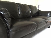 Attractive Leather Sofas - A Three seater Sofa and a matching two seater Sofa .