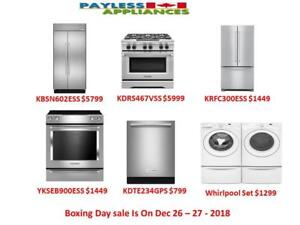 Payless Appliances Boxing Day Is On Dec 26th and 27th 2018, Save Big On Our Brand New and Open box Products.