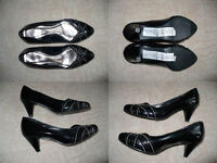 Bundle of ladies black patent leather shoes (used) and slippers (brand new) size 4.