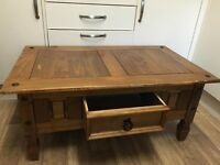 Free local plymouth delivery @ full price Mexican pine coffee table dark varnish ideal shabby chic.